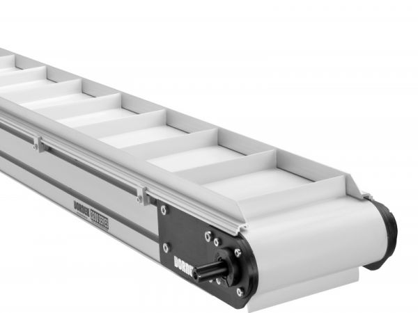 Heavy duty Dorner 3200 Series belt conveyor with flighted belt.