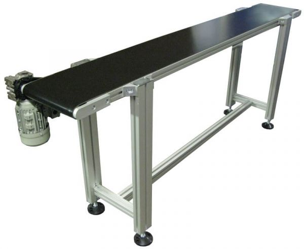 Low profile Type 40 Belt conveyor on adjustable stand.