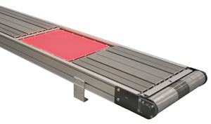 LED backlit belt conveyor with belt removed.