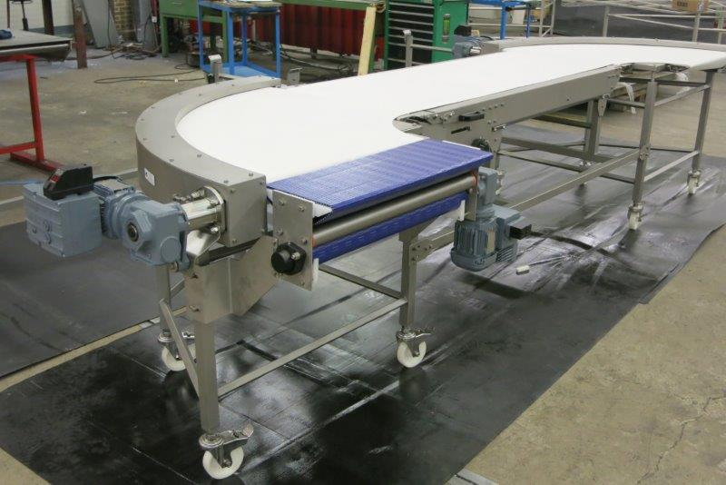 Conveyor belt bend with PVC belt