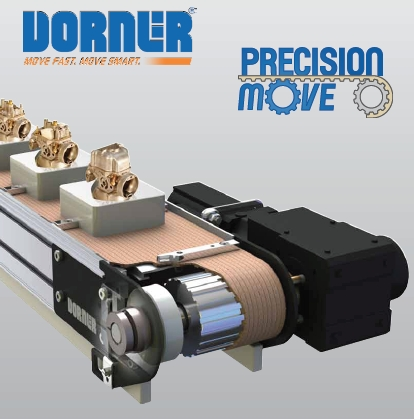Dorner belt conveyor with servo motor for accurate control of products.