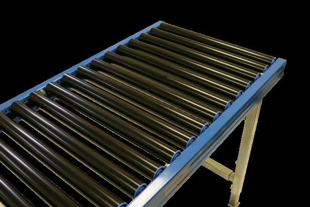 Gravity roller conveyor with plastic rollers.