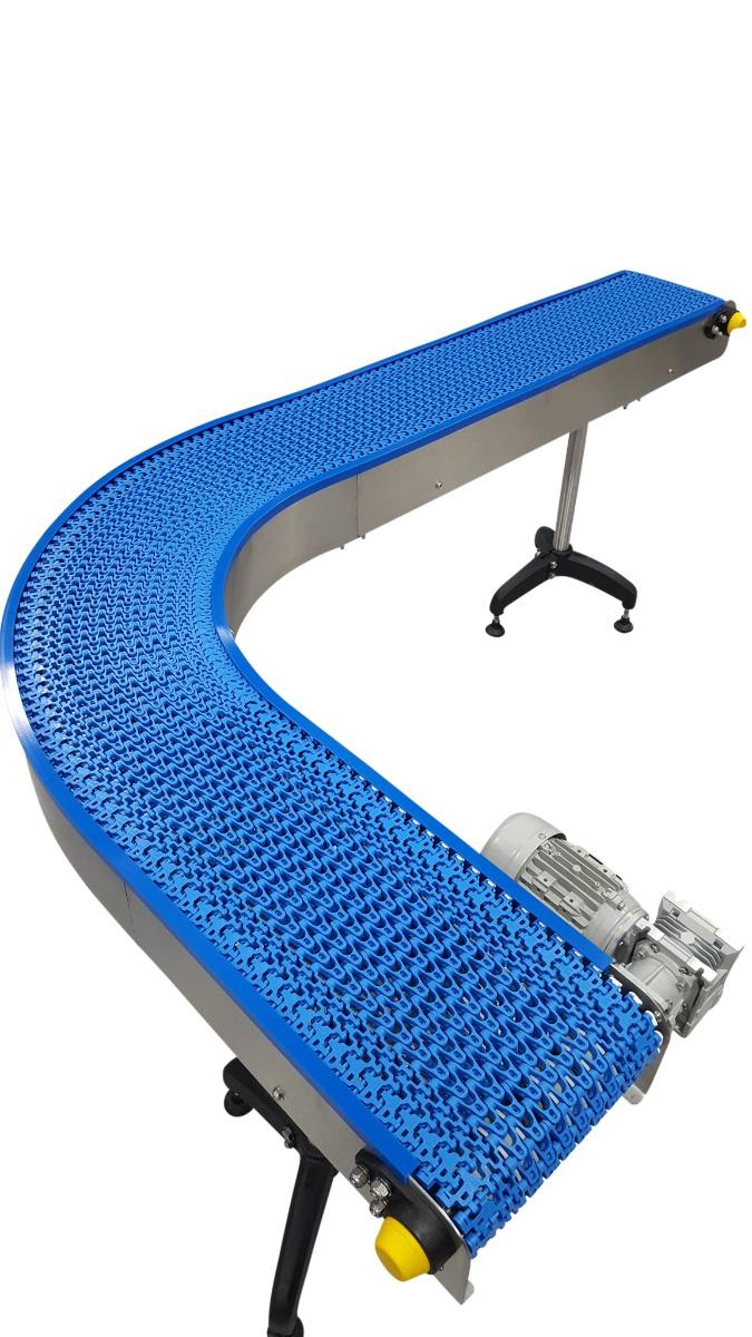 Narrow plastic modular conveyor bend.