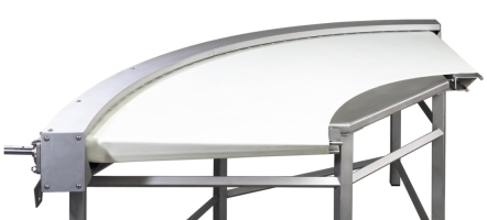 Belt conveyor bend for food industry