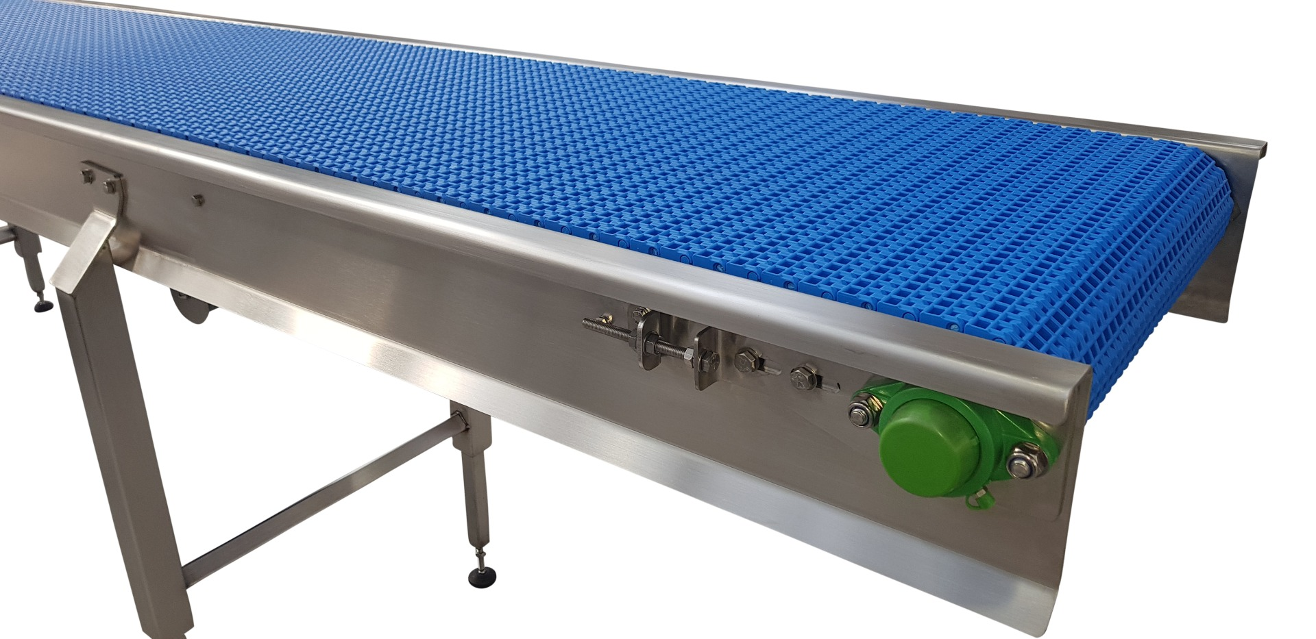Plastic modular belted stainless steel conveyor