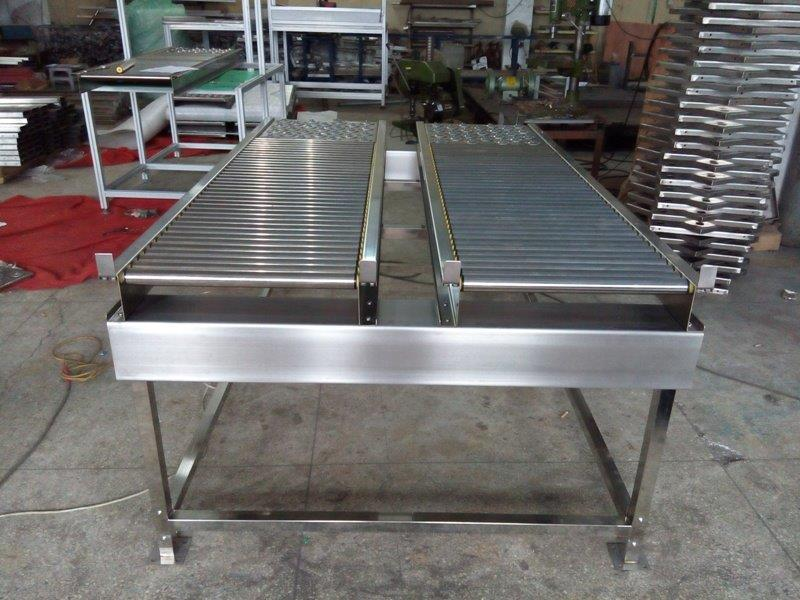 Stainless steel roller conveyor systems