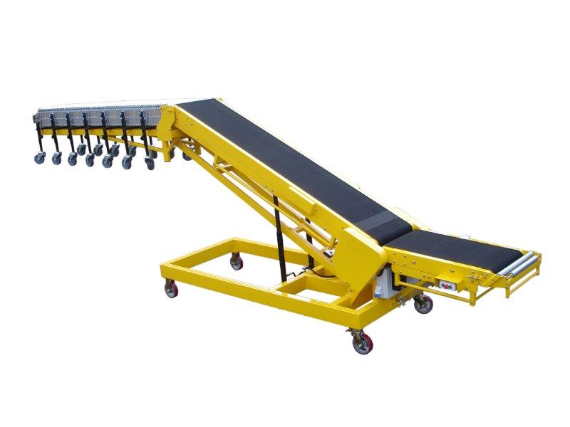 Powered incline vehicle loading conveyor belt.