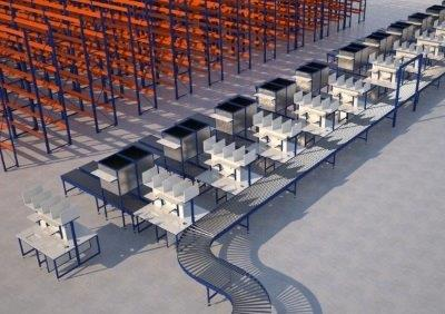 Belt conveyor work stations in factory